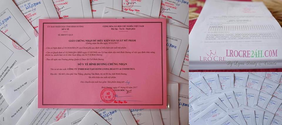 SẢN PHẨM LRO'CRE ĐƯỢC CHỨNG NHẬN ĐỦ ĐIỀU KIỆN SẢN XUẤT THEO CHUẨN CGMP-ASEAN